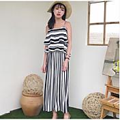 Mujer Simple Casual/Diario Verano Blusa Pantalón Trajes,Escote Redondo Un Color A Rayas Sin Mangas