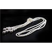 Collares de la declaración de las mujeres joyería de imitación de la borla de la perla para el banquete de boda partido de la graduación