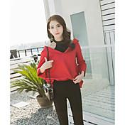 Mujer Simple Casual/Diario Camisa,Cuello Alto Un Color Manga Larga Algodón