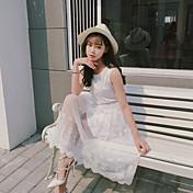 Mujer Corte Ancho Vestido Casual/Diario Simple,Un Color Jacquard Escote Redondo Midi Manga Corta Poliéster Verano Tiro Medio Rígido Fino