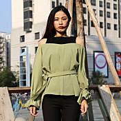 Mujer Simple Casual/Diario Camiseta,Hombros Caídos Bloques Manga Larga Algodón