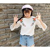 Mujer Simple Casual/Diario Camiseta,Escote Redondo Estampado Bloques Manga Larga Algodón