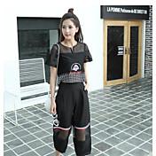Mujer Simple Noche Discoteca Verano Blusa Pantalón Trajes,Escote en Pico Un Color Bloques Bordado Manga Corta Malla