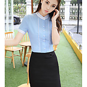 Mujer Simple Casual/Diario Verano Camisas Falda Trajes,Escote Redondo Un Color Manga Corta Inelástica