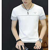 Hombre Simple Casual/Diario Verano Camiseta,Escote Redondo Estampado Letra Manga Corta Algodón Otro