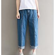 Mujer Chic de Calle Tiro Medio Microelástico Vaqueros Shorts Pantalones,Delgado Un Color