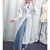 Mujer Simple Casual/Diario Camisa,Cuello Camisero Un Color Manga Larga Algodón