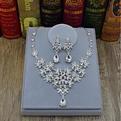 Mujer Pendientes colgantes Collar Cristal Moda Legierung Forma de Flor Gota Para Boda Fiesta Ceremonia Escenario Regalos de boda