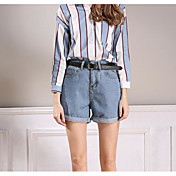 Mujer Sencillo Tiro Alto Microelástico Vaqueros Shorts Pantalones,Corte Recto Un Color