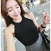 Mujer Sexy Casual/Diario Camiseta,Halter Un Color Sin Mangas Algodón