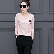 Mujer Simple Casual/Diario Camiseta,Escote Redondo A Rayas Manga Larga Algodón Otro
