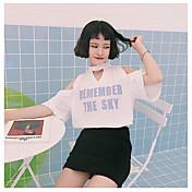 Mujer Simple Casual/Diario Camiseta,Hombros Caídos Letra Manga Corta Algodón