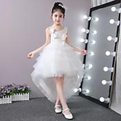 Vestido de bola vestido asimétrico de la muchacha de flor - palillo-satén Tulle sin mangas un hombro con rebordear