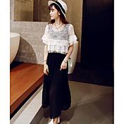Mujer Simple Noche Verano Blusa Falda Trajes,Escote Redondo Un Color Manga Corta