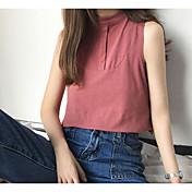 Mujer Bonito Noche Camiseta,Cuello Barco Un Color Sin Mangas Algodón