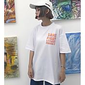 Mujer Simple Casual/Diario Verano Camiseta,Escote Redondo Estampado Manga Corta Algodón