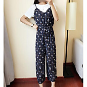 Mujer Simple Casual/Diario Verano T-Shirt Falda Trajes,Escote Redondo Floral Manga Corta
