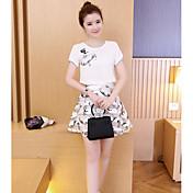 Mujer Simple Casual/Diario Verano T-Shirt Falda Trajes,Escote Redondo Patrón Manga Corta Microelástico