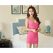 Mujer Corte Bodycon Vestido Discoteca Un Color Escote en Pico Sobre la rodilla Sin Mangas Algodón Verano Tiro Alto Elástico Fino