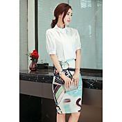 Mujer Simple Casual/Diario Trabajo Verano Camisas Falda Trajes,Cuello Camisero Estampado Manga Corta