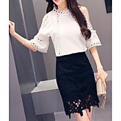 レディース カジュアル/普段着 夏 Tシャツ(21) スカート スーツ,シンプル クルーネック ソリッド 半袖