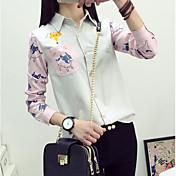 Mujer Simple Casual/Diario Camisa,Cuello Camisero Estampado Estampado Animal Manga Larga Nailon Otro