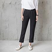 Mujer Sencillo Tiro Alto Inelástica Chinos Pantalones,Corte Recto Un Color