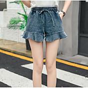 Mujer Adorable Tiro Alto Microelástico Chinos Shorts Pantalones,Perneras anchas Un Color