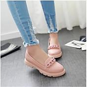 Mujer Zapatos de taco bajo y Slip-Ons Confort PU Verano Casual Blanco Azul Rosa Plano