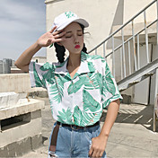 Mujer Simple Casual/Diario Camisa,Cuello Camisero Estampado Manga Corta Algodón Poliéster