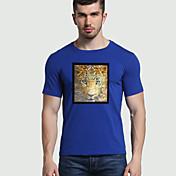 Hombre Simple Chic de Calle Activo Deportes Noche Casual/Diario Verano Otoño Camiseta,Escote Redondo Estampado Animal Manga CortaAlgodón