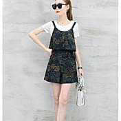 レディース お出かけ 夏 Tシャツ(21) パンツ スーツ,ストリートファッション ラウンドネック プリント 半袖
