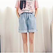 Mujer Sencillo Tiro Alto Microelástico Perneras anchas Shorts Pantalones,Corte Recto Un Color
