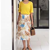 Mujer Simple Casual/Diario Verano T-Shirt Falda Trajes,Escote Redondo Un Color Estampado Media Manga Microelástico