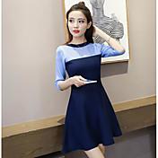 Mujer Línea A Corte Ancho Vestido Noche Un Color Bloques Escote Redondo Sobre la rodilla Manga Corta Algodón Verano Tiro Medio