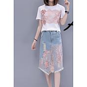Mujer Simple Casual/Diario Verano T-Shirt Falda Trajes,Escote Redondo Estampado Manga Corta Microelástico