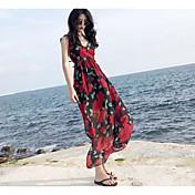 Mujer Vaina Vestido Noche Floral Escote en Pico Maxi Sin Mangas Poliéster Verano Tiro Alto Microelástico Fino