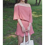 Mujer Simple Casual/Diario Verano Tank Top Pantalón Trajes,Escote Barco Un Color Manga Corta Microelástico