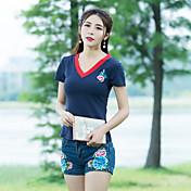 Mujer Vintage Simple Noche Camiseta,Escote en Pico Un Color Floral Manga Corta Algodón