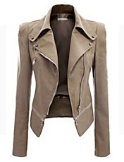 Women's Solid Black / Brown / Green Jackets , Vintage / Casual / Day Shirt Collar Long Sleeve sw046