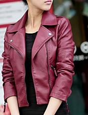Women's New Arrival Korean Slim  Casual/Work Long Sleeve Jackets , PU Medium
