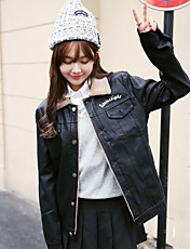 Women's Going out Simple Jackets,Solid Shirt Collar Long Sleeve Winter Black Polyester Thick
