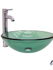 Victory ラウンド型 クリア 強化ガラス洗面ボールとクロム水栓 取り付けリングと排水ドレイン付き(0917-VT4056)
