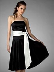 LAN TING BRIDE 膝丈 ストラップレス ブライドメイドドレス - カラーブロック ノースリーブ サテン