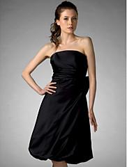 LAN TING BRIDE 膝丈 ストラップレス ブライドメイドドレス - リトルブラックドレス ノースリーブ サテン