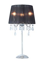 křišťálové stolní svítidlo se 3 světly - černé stínítko