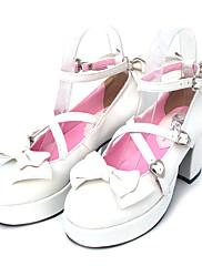 Boty Sweet Lolita Šněrování Vysoký podpatek Boty Mašle 7.5 CM Pro PU kůže/Polyurethanová kůže Polyurethanová kůže