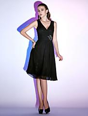 Koktejlový večírek / Dovolená Šaty - Malé černé šaty A-Linie / Princess Do V Ke kolenům Šifón s Korálky / Křížení / Sklady