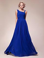 A-Linie Větší velikosti Malé Šaty pro matku nevěsty - Zářivé Na zem Bez rukávů Šifón - Korálky Boční řasení Sklady