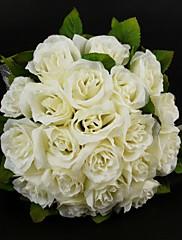 """Svatební kytice Kulatý Růže Kytice Svatba Satén Bavlna Slonová kost 28 cm (cca 11,02"""")"""